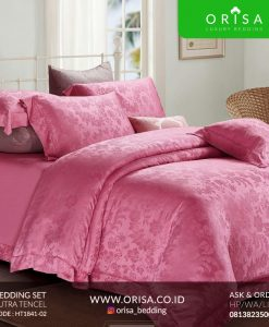 sprei-mewah-warna-pink-bahan-sutra-tencel-murah