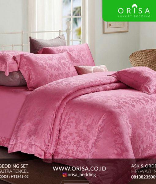 sprei mewah warna pink bahan sutra tencel murah