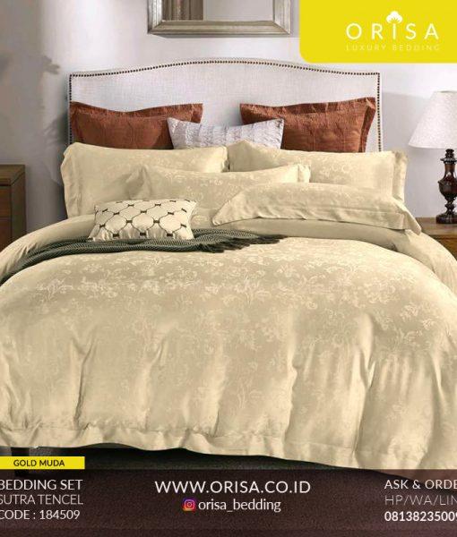 seprai bedcover set mewah warna gold muda orisa bedding