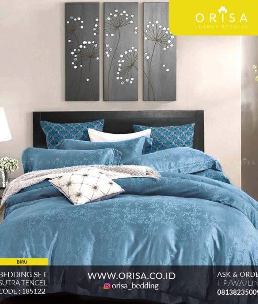 seprai bedcover sutra tencel organik orisa warna biru