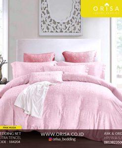 sprei mewah orisa bedding pink muda