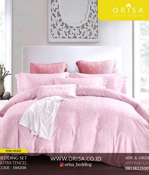 seprai mewah orisa bedding pink muda