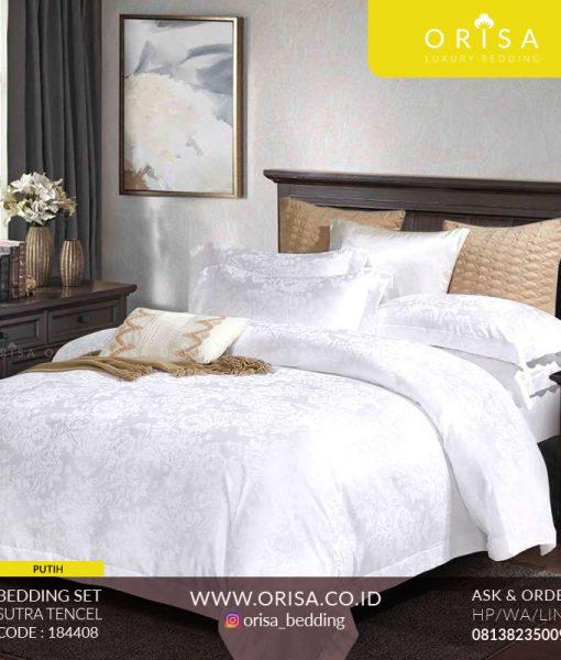 sprei putih mewah bedcover set sutra tencel orisa bedding