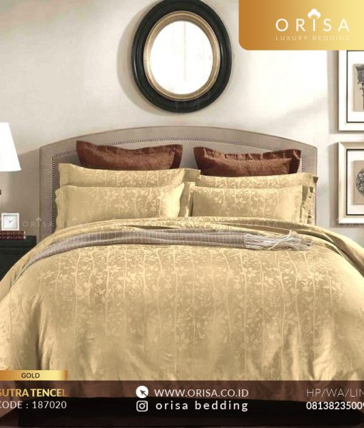sprei bedcover set gold sutra jacguard tencel
