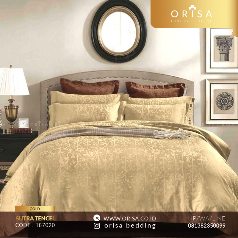 sprei bedcover set gold sutra jacguard tencel