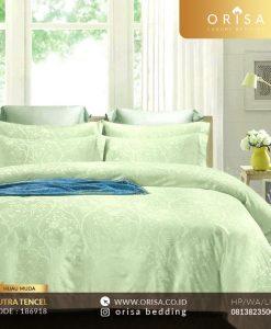 sprei bedcover set sutra jacguard tencel hijau muda