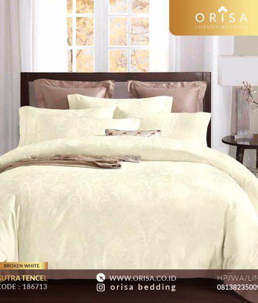 sprei broken white bedcover sutra jacguard tencel