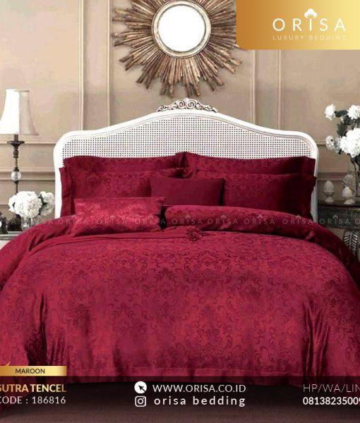 sprei merah maroon bahan sutra jacguard tencel