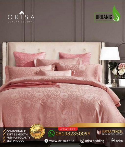 orisa sprei mewah jacguard tencel organic pink rose