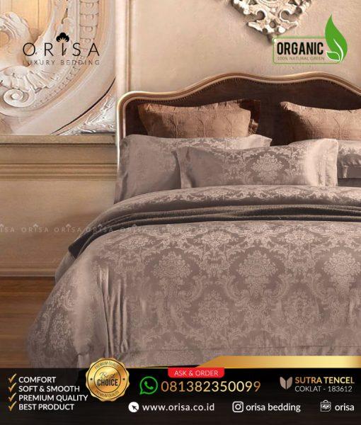 sprei-jacguard-sutra-tencel-organik-orisa-coklat