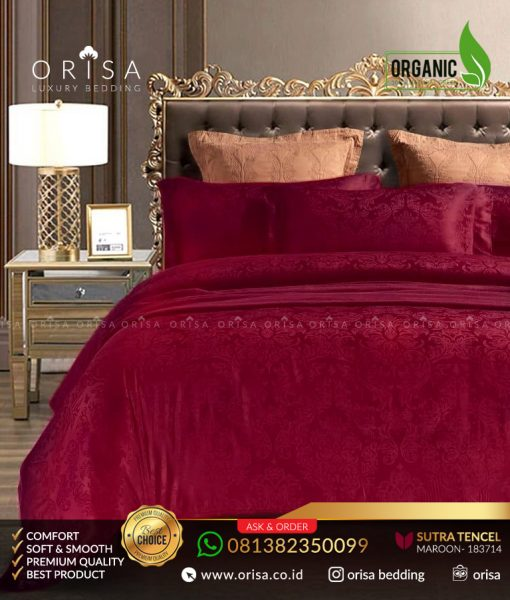 sprei-jacguard-sutra-tencel-organik-orisa-merah-maroon
