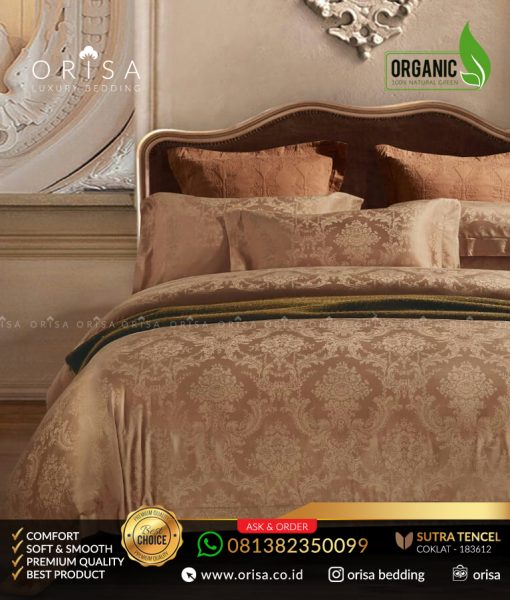 sprei-mewah-orisa-bedding-sutra-jacguard-tencel-organik-coklat