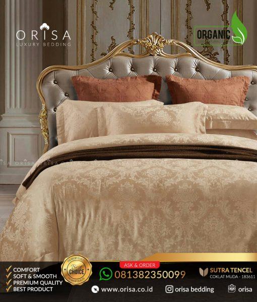 sprei-mewah-orisa-bedding-sutra-jacguard-tencel-organik-coklat-muda