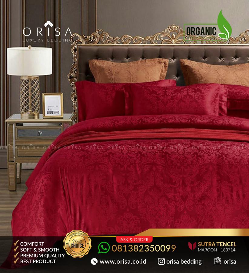 sprei-mewah-orisa-bedding-sutra-jacguard-tencel-organik-maroon