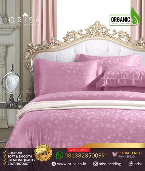 seprai mewah orisa jacguard sutra tencel organik pink