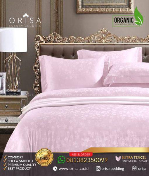 seprai mewah orisa jacguard sutra tencel organik pink muda