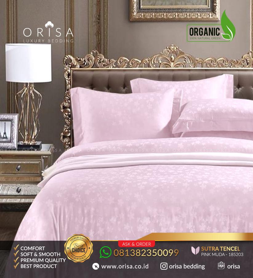 sprei mewah dan lembut orisa bedding sutra jacguard tencel organik pink muda