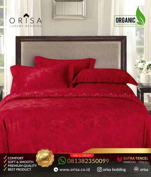 sprei terbaru orisa sutra tencel 190611 merah maroon