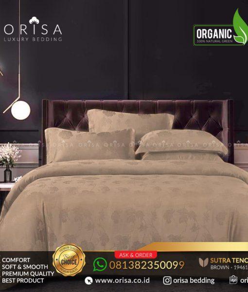 sprei bedcover set orisa sutra tencel jacguard original warna brown