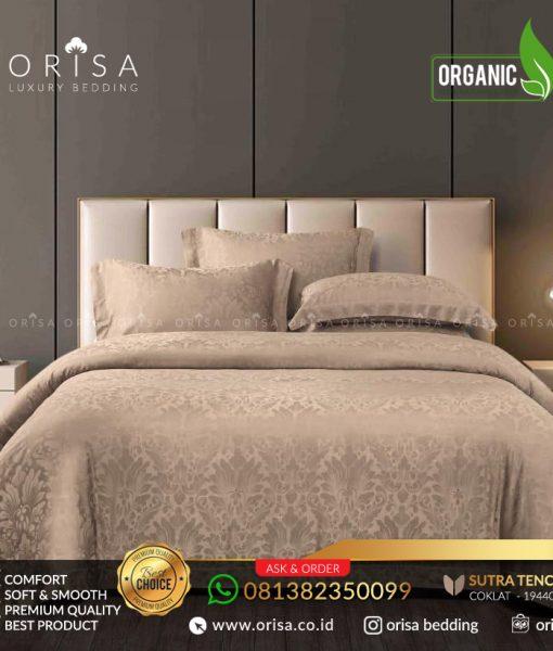 sprei bedcover set orisa sutra tencel jacguard original warna coklat
