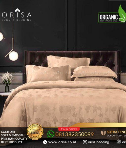 sprei bedcover set orisa sutra tencel jacguard original warna coklat rose