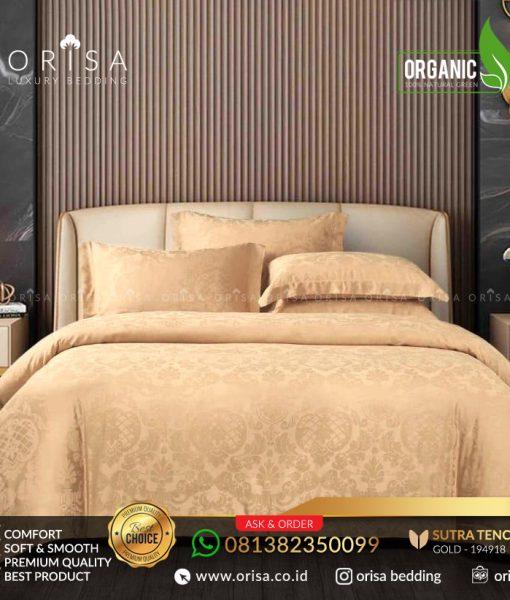 sprei bedcover set orisa sutra tencel jacguard original warna gold