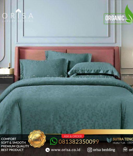 sprei bedcover set orisa sutra tencel jacguard original warna hijau tua