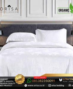 sprei bedcover set orisa sutra tencel jacguard original warna putih