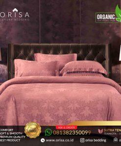 sprei bedcover set orisa sutra tencel jacguard original warna terakota