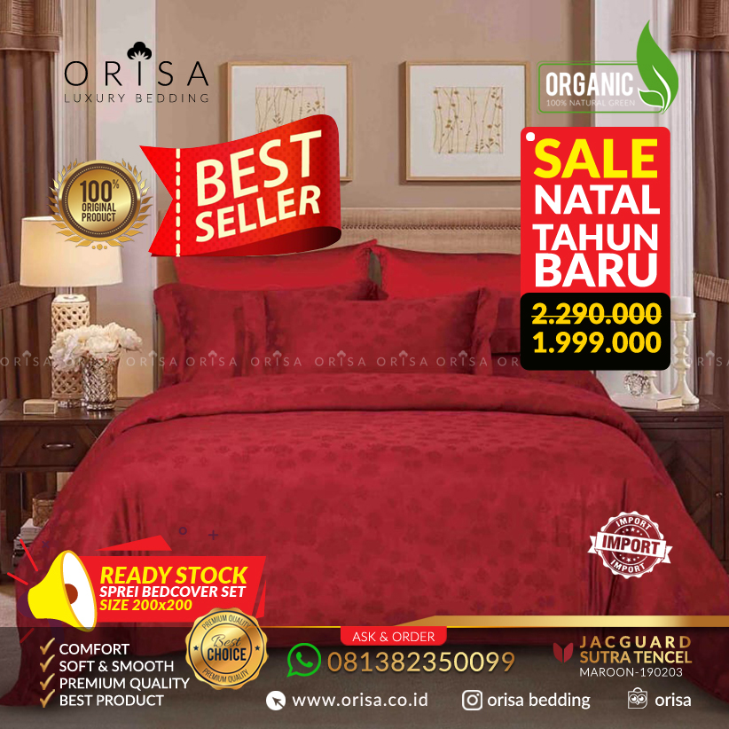 Sprei Bedcover 200x200 extra king Jacguard Sutra Tencel mewah