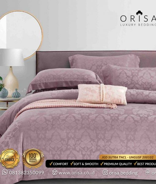 sprei mewah bedcover set warna ungu muda