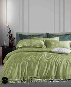 sprei-hijau-muda-bedcover-orisa-bahan-jacguard-sutra-tencel-mewah